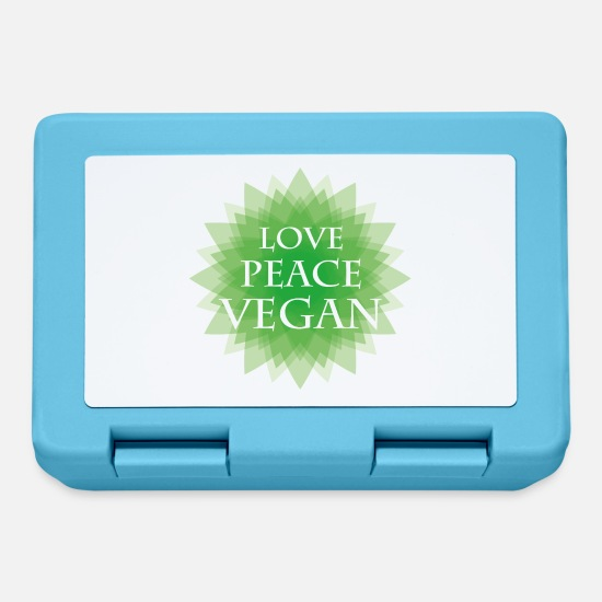 Love Lunchboxes - LOVE PEACE VEGAN green - Lunchbox sapphire blue