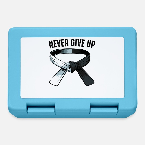 Martial Arts Lunchboxes - Never Give Up Kickboxing MMA Motivation Gift - Lunchbox sapphire blue