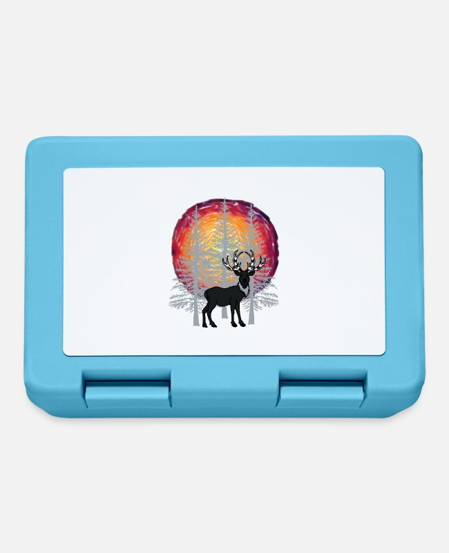 Nature Lunchboxes - Forest trees deer reindeer nature conservation - Lunchbox sapphire blue