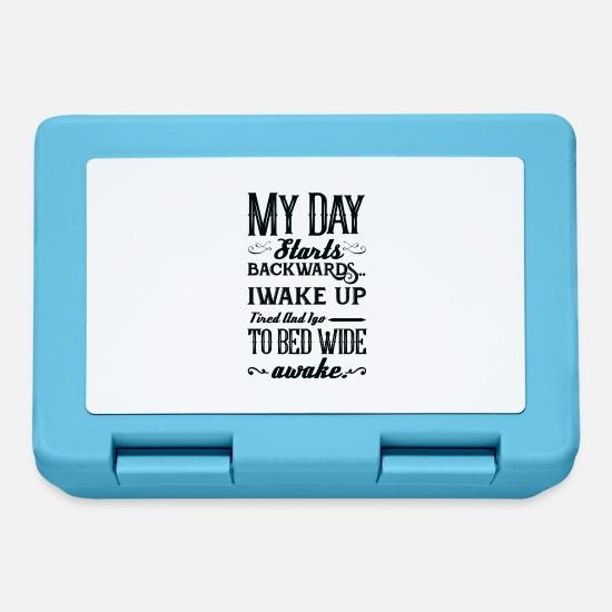 Alarm Clock Lunchboxes - My day starts backwards humor gift - Lunchbox sapphire blue