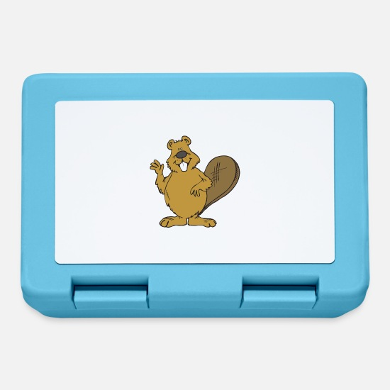 Usa Lunchboxes - beaver biber rodent rodents wood water10 - Lunchbox sapphire blue