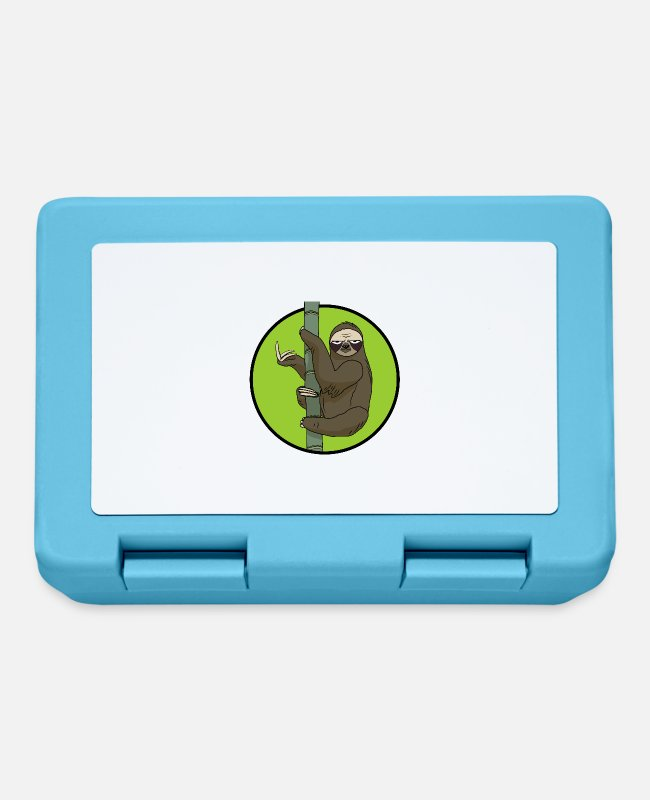 Nature Lunchboxes - Bad green sloth - Lunchbox sapphire blue