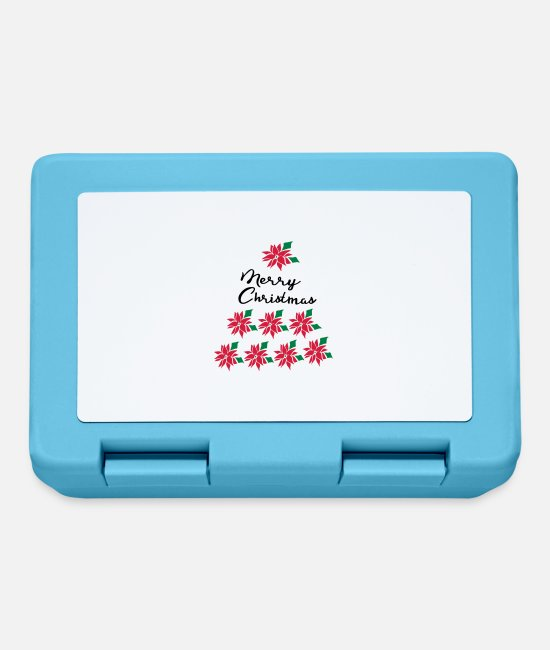 Christmas Lunchboxes - Poinsettia XMAS TREE C3 - Lunchbox sapphire blue