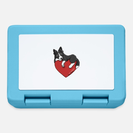 Border Collie Lunchboxes - Border Collie Black Heart - Lunchbox sapphire blue