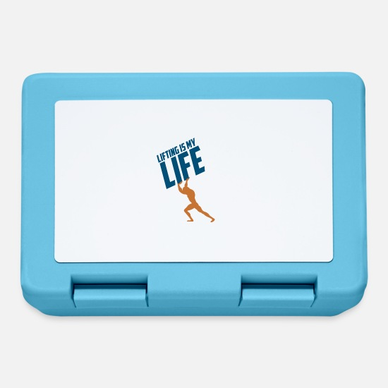 Weightlifting Lunchboxes - LIFTING IS MY LIFE GIFT - Lunchbox sapphire blue