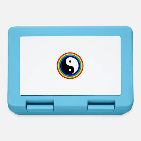 Tai Chi Lunchboxes - Yin And Yang Rainbow Chinese Tai Chi Symbol - Lunchbox sapphire blue