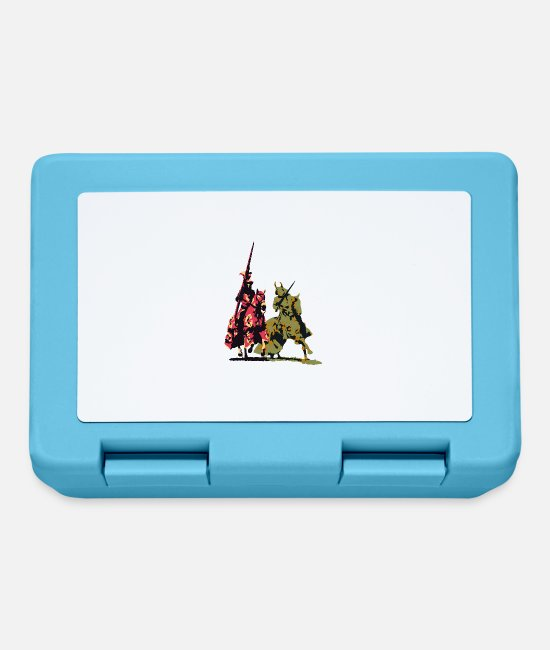 Warrior Lunchboxes - two noble knights on horseback with weapons - Lunchbox sapphire blue