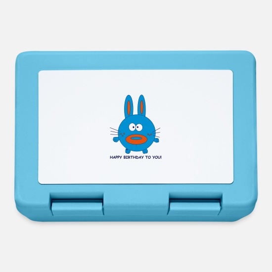 Amore Lunch boxes - Bunny Hase Kaninchen Happy Birthday Geburtstag Fun - Lunch box blu zaffiro