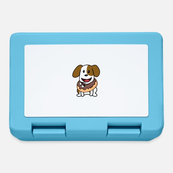 Pet Lunchboxes - Funny funny dog donut sweets snacking on dogs - Lunchbox sapphire blue