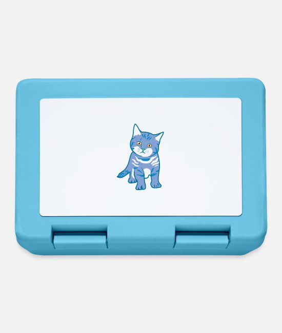 Cat Lady Lunchboxes - Cat baby domestic cat in blue - Lunchbox sapphire blue