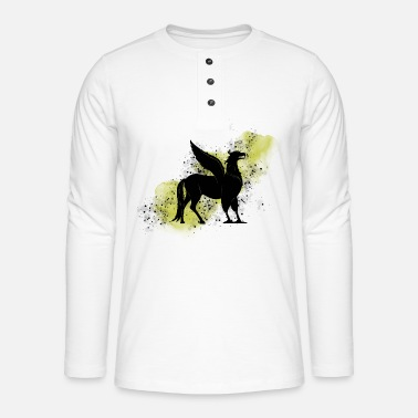 Hippogriff on yellow background - Magic world - Henley long-sleeved shirt