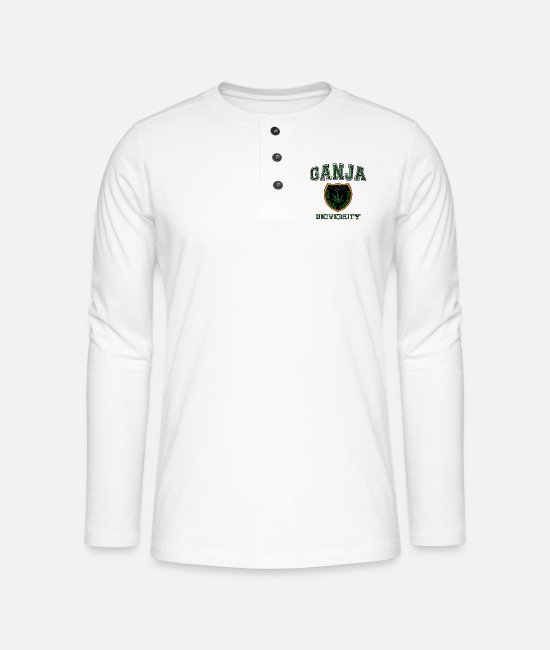 Rastafari Long-Sleeved Shirts - Ganja University - Henley long-sleeved shirt white