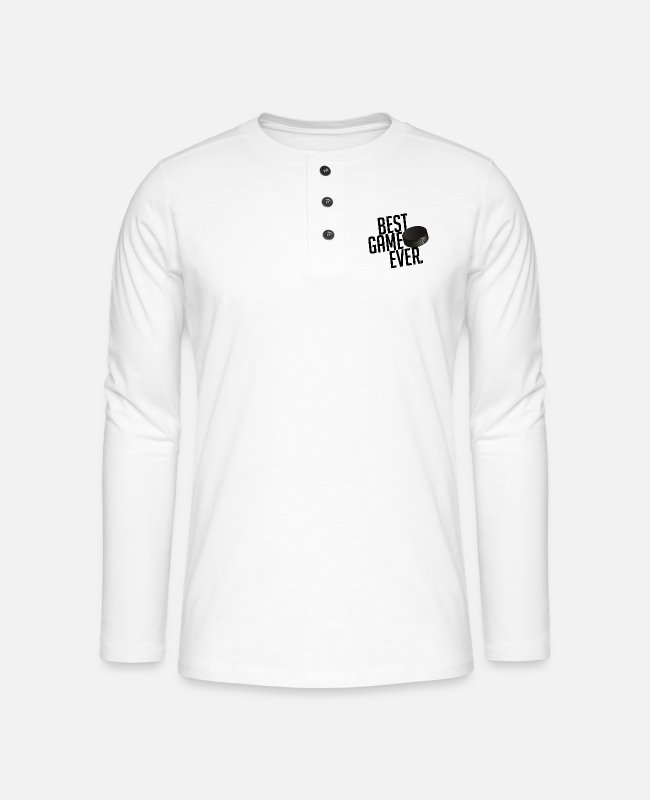 Sport Long-Sleeved Shirts - BEST GAME EVER Eishokey Icehokey Gift - Henley long-sleeved shirt white
