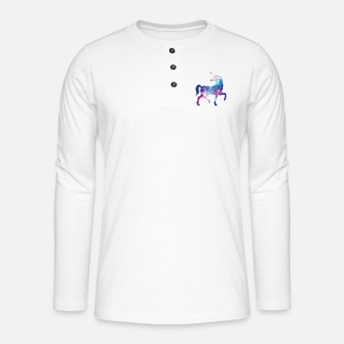 Unicorn with constellation design - Henley long-sleeved shirt