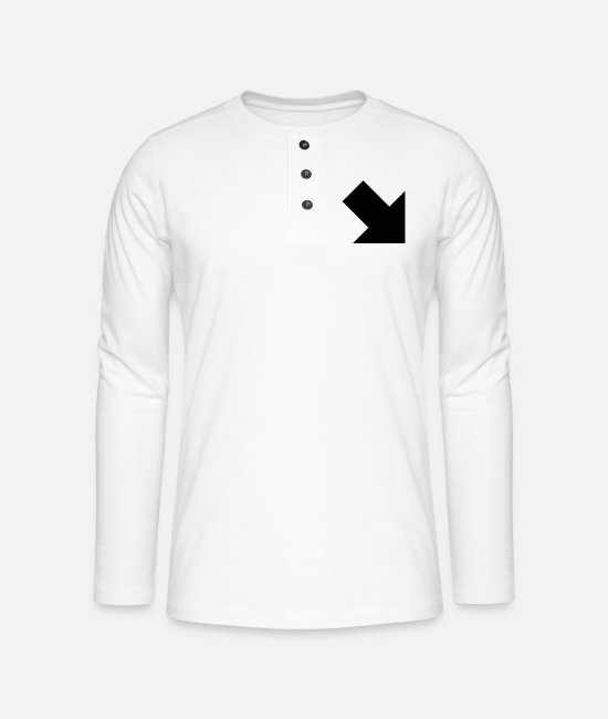 Retro Long sleeve shirts - arrow full lowerright - Henley long-sleeved shirt white