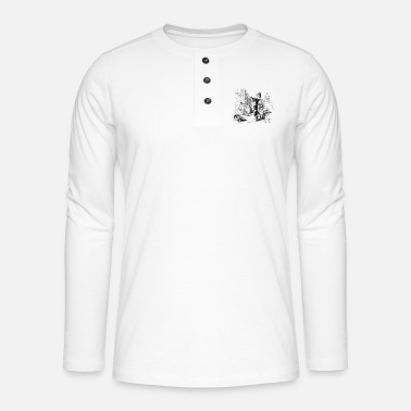 Tradition Cat Sketch - Black / White Illustration - Stickers - Henley long-sleeved shirt