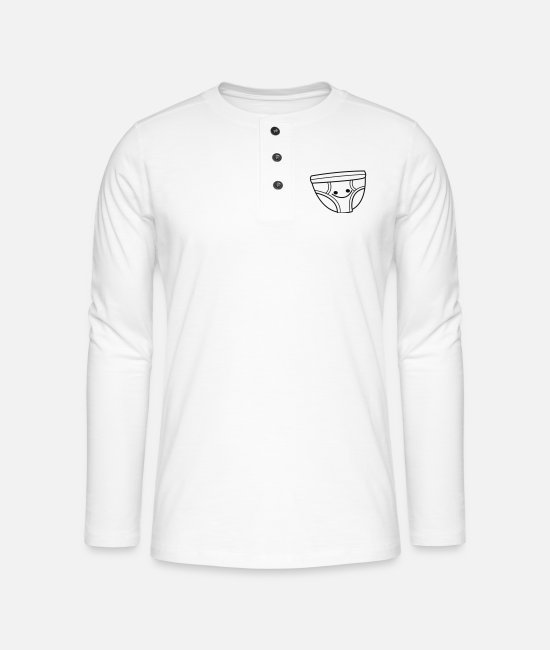 Urine Long-Sleeved Shirts - Happy Underpants - Henley long-sleeved shirt white