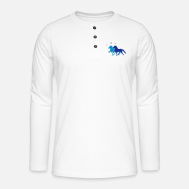All Two Horses with silver-metallic Stars - Henley Langarmshirt