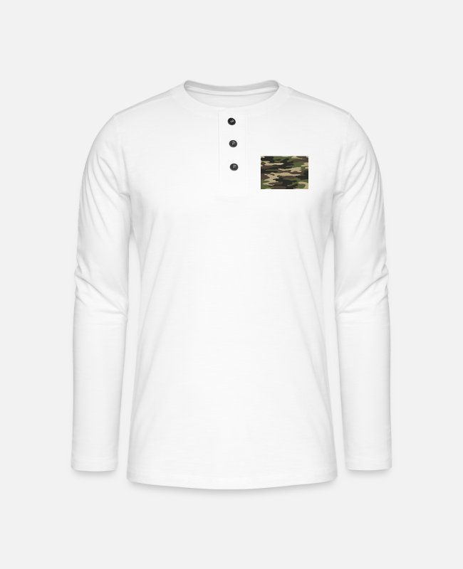 Army Long-Sleeved Shirts - army camo - Henley long-sleeved shirt white