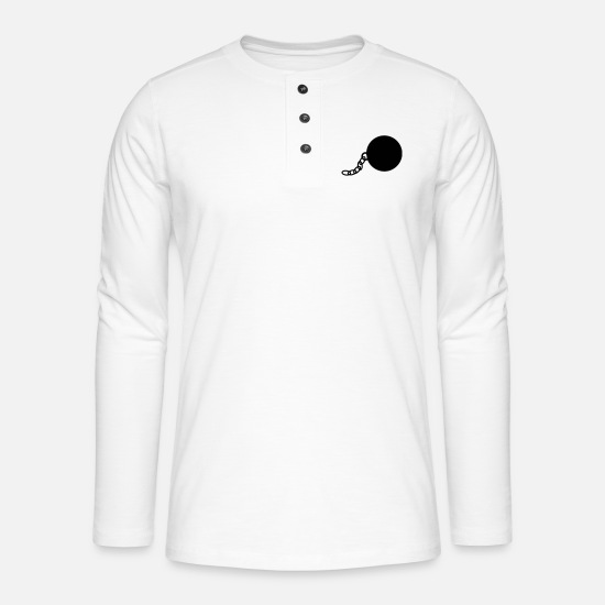 Bride Long sleeve shirts - Ball and Chain - Henley long-sleeved shirt white