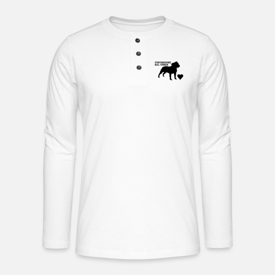Terrier Long sleeve shirts - Staffy - Henley long-sleeved shirt white