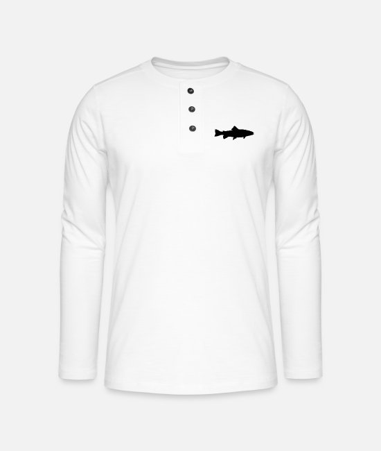 Trout Long sleeve shirts - Trout - Henley long-sleeved shirt white