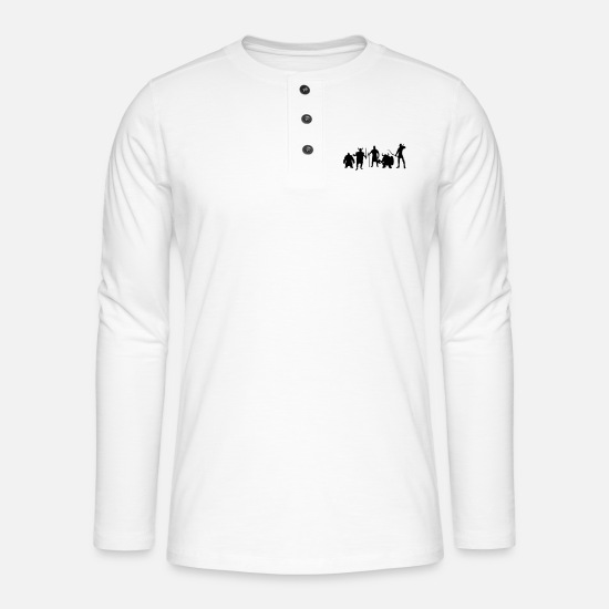 Anneaux Manches longues - Massively Multiplayer Online Role-Playing Game - T-shirt manches longues Henley blanc