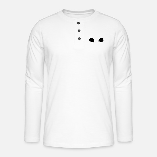 Birthday Long Sleeve Shirts - Cats / eyes - Henley long-sleeved shirt white