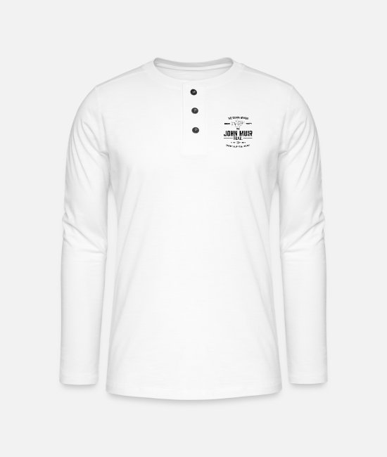 Distressed Long-Sleeved Shirts - The John Muir Trail JMT for ThruHikers - Henley long-sleeved shirt white