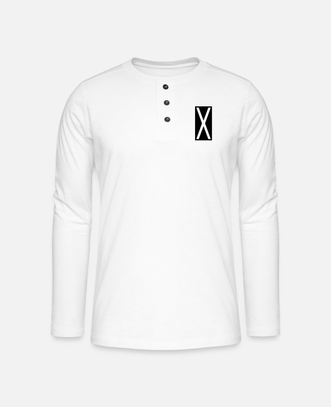 Geometry Long-Sleeved Shirts - Rectangle X - Henley long-sleeved shirt white