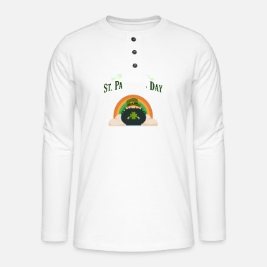 This Guy Needs A Beer Happy St Patricks Leprechaun with Pot of Gold - Henley long-sleeved shirt