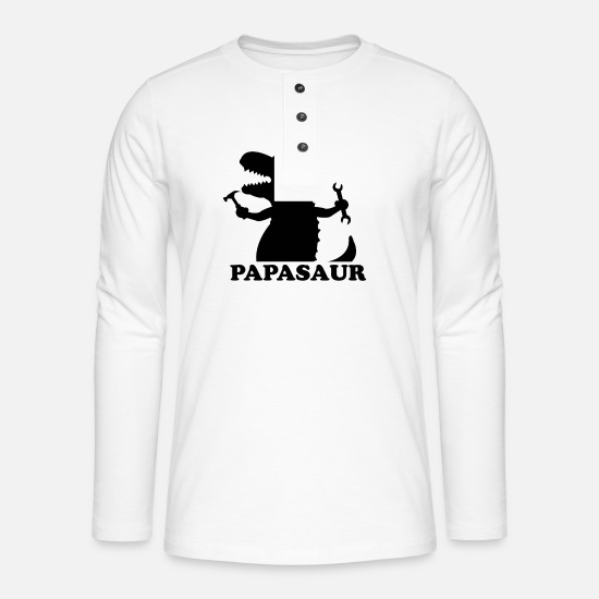 Trend Long Sleeve Shirts - Father's Day Tshirt - Henley long-sleeved shirt white