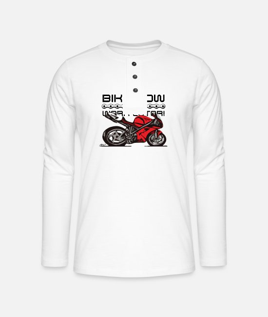 Motorcycle Long-Sleeved Shirts - Superbike comic-style - Henley long-sleeved shirt white
