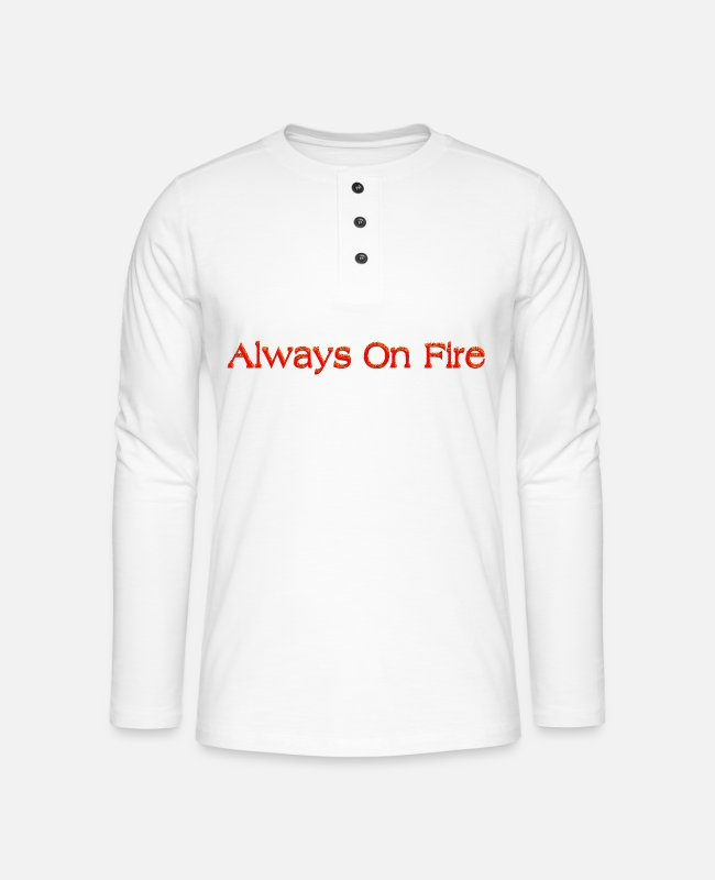 Brand Langarmshirts - Always On Fire - Henley Langarmshirt Weiß