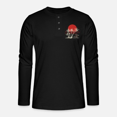 Waving surfing gifts surfing accessories retro surf wave - Henley long-sleeved shirt