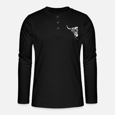 Two Great Highland Cattle farmer beef - Henley long-sleeved shirt