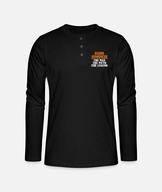 Cassette Long-Sleeved Shirts - radio announcer - Henley long-sleeved shirt black