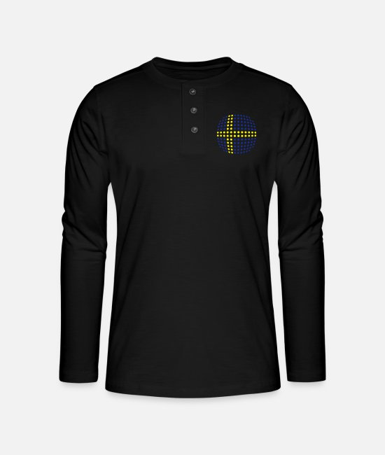 Cute Long-Sleeved Shirts - Sweden flag (Dotted) - Henley long-sleeved shirt black