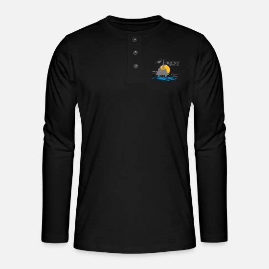 Oil Rig Long sleeve shirts - Brent Bravo Oil Rig Platform North Sea Aberdeen - Henley long-sleeved shirt black