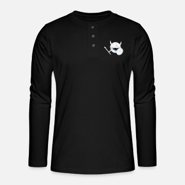 Holzschild white vEYEking 3 White Viking eye with weapons - Henley long-sleeved shirt