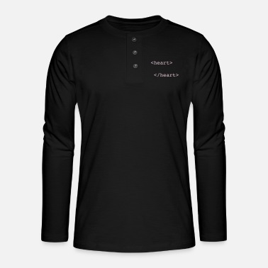 Nerd html heart - Henley long-sleeved shirt