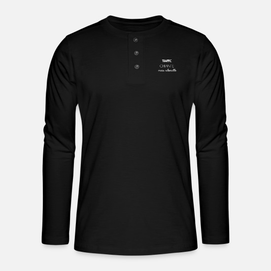 Trafic Manches longues - Traffic - T-shirt manches longues Henley noir