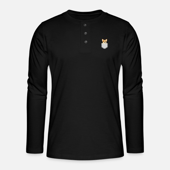 Dog Owner Long sleeve shirts - Sweet dog looks out of his pocket - Henley long-sleeved shirt black