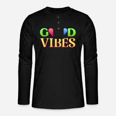 Cuore Good vibes hearts red blue - Camiseta panadera de manga larga Henley