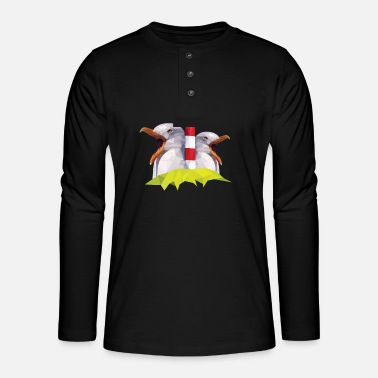 Wadden Sea Lighthouse Seagulls North Low German Gift - Henley long-sleeved shirt