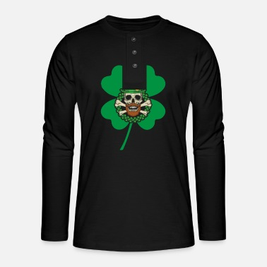 Irish Beer Patrick's Day Skull Green - Henley long-sleeved shirt