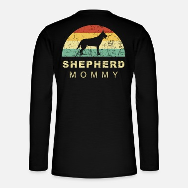 Long-haired Long-haired Herd Dog Grunge retro vintage german shepherd dog mom - Henley long-sleeved shirt