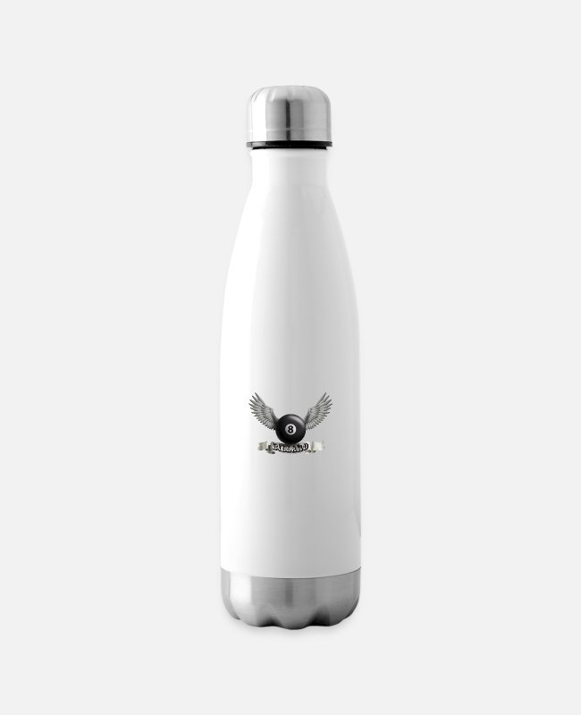 Darwin Mugs & Drinkware - billard_wings_a - Insulated Water Bottle white