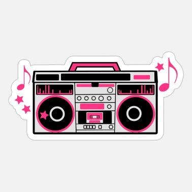 Boom Box 80s cassette player dj boom box with funky musical - Sticker
