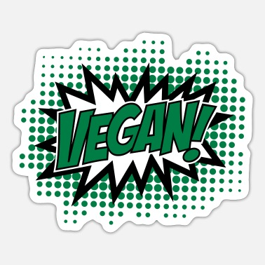 Explosion Vegan, Comic Book Style, Green, Explosion, 2c - Sticker